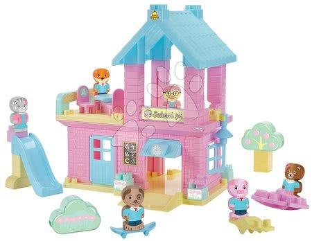 Stavebnice a kocky - Stavebnica Škola Twee Pop Abrick Écoiffier s poschodovou budovou a 6 postavičkami zvieratiek od 18 mes