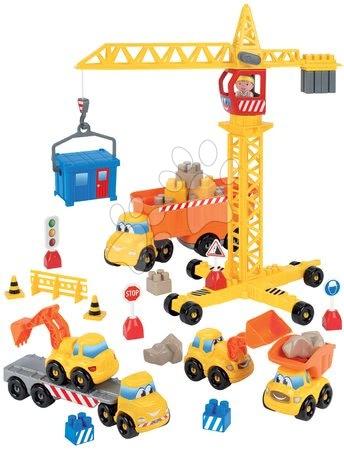 Stavebnice a kocky - Stavebnica stavbári so žeriavom Abrick Écoiffier s 5 autami a žeriavnikom od 18 mes