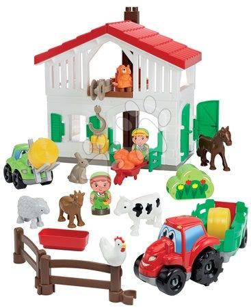 Stavebnice a kocky - Stavebnica farma s traktorom Abrick Écoiffier so 7 zvieratkami a 2 farmármi od 18 mes