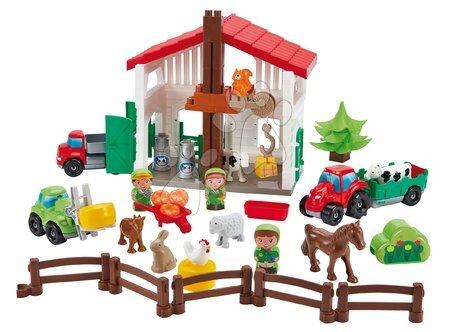 Dětské stavebnice - Stavebnice farma s traktorem Abrick Écoiffier s 8 zvířátky a 3 farmáři od 18 měsíců