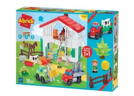 Dětské stavebnice - Stavebnice farma s traktorem Abrick Écoiffier s 8 zvířátky a 3 farmáři od 18 měsíců_1