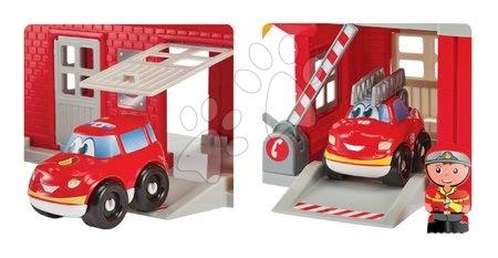 Stavebnice a kocky - Stavebnica požiarnici so šmykľavkou Abrick Écoiffier s poschodovou garážou 3 autá a 3 požiarnici od 18 mes_1