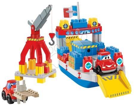 Építőjátékok - Építőjáték Gyors autók Abrick Écoiffier konténeres hajó kisautókkal 3 évtől