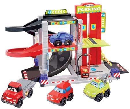 Stavebnica Rýchle autá Abrick Écoiffier Poschodová garáž so 4 autíčkami od 18 mesiacov