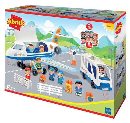 Stavebnice a kocky - Stavebnica lietadlo a autobus Abrick Écoiffier so schodíkmi a 8 postavičiek od 18 mes_1