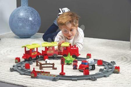 Stavebnice a kocky - Stavebnica Vlak s koľajnicami Steam Train Abrick Écoiffier s 2 vozidlami a 4 figúrkami od 18 mes_1