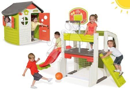 Set hracie centrum Fun Center Smoby so šmykľavkou dlhou 150 cm a domček Jura Lodge od 2 rokov