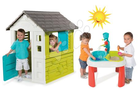 Set detský domček Pretty Blue Smoby a multifunkčný stolík Voda&Piesok 2v1 od 2 rokov