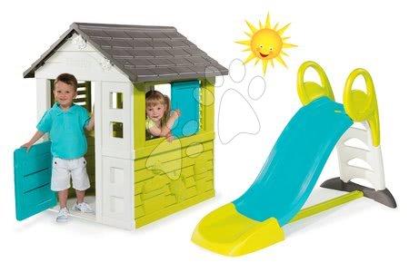 Set domček pre deti Pretty Blue Smoby a šmykľavka Toboggan KS s dĺžkou 150 cm od 2 rokov