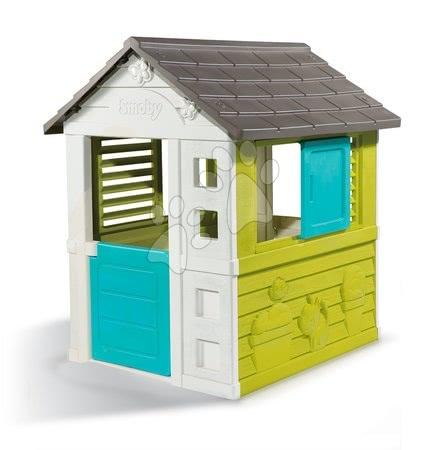 Hračky pre chlapcov - Set domček Pretty Blue Smoby so zasúvacou okenicou a hracie centrum Fun Center so šmykľavkou od 24 mes_1