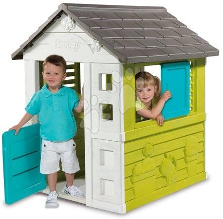 Detský domček Pretty Blue Smoby so zasúvacou okenicou a UV filtrom od 2 rokov