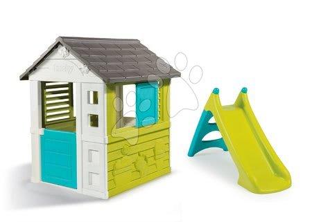 Akce - Set domeček Pretty Blue se zasouvací okenicí Smoby a skluzavka Toboggan XS a dárek elektronický zvonek od 24 měsíců_1