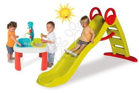 Set detská šmykľavka Toboggan Funny Smoby dĺžka 2 m a stôl na hranie Voda&Piesok od 24 mesiacov