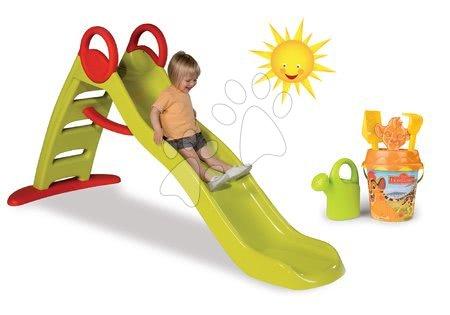 Set šmykľavka pre deti Toboggan Funny Smoby dĺžka 2m a vedro set Disney od 24 mesiacov
