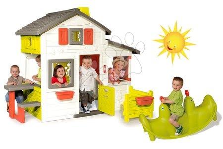 Set detský domček Priateľov Smoby poschodový a hojdačka Tuleň s vodotryskom