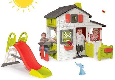 Set detský domček Priateľov Smoby a šmykľavka Toboggan KS s dĺžkou 150 cm