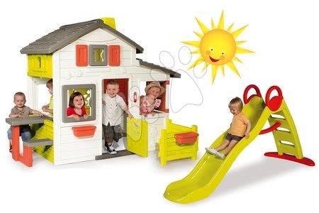 Set detský domček Priateľov Smoby poschodový a šmykľavka Funny Toboggan s dĺžkou 2 m