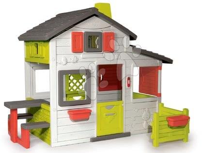 Detský domček Priateľov Smoby poschodový s predzáhradkou a UV filtrom