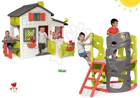 Set căsuţă Prieteni Smoby cu grădinuță și căţărător Multiactivity Climbing Tower cu tobogan