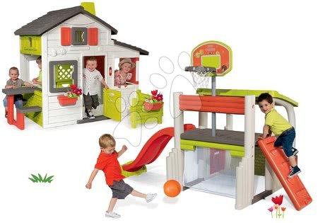 Set domeček Přátel Smoby s předzahrádkou a hrací centrum Fun Center se skluzavkou