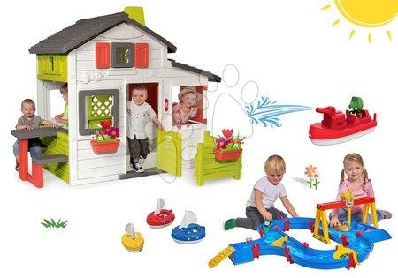 Hračky pre chlapcov - Set domček Priateľov Smoby s predzáhradkou+vodná dráha Container Port s pohyblivým žeriavom a 3 loďky s delostrelcom