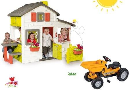 Hračky pre chlapcov - Set domček Priateľov Smoby s predzáhradkou a traktor s vyklápačkou Jim Dumper