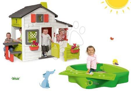 Szett házikó Barátok Smoby kiskerttel és homokozó Sandy fedéllel és vízi pályával
