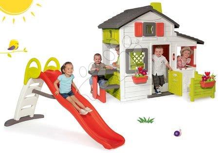 Hračky pre chlapcov - Set domček Priateľov Smoby s predzáhradkou a šmykľavka Funny Toboggan 2 metrová