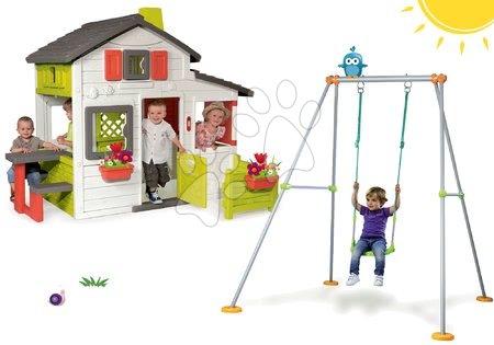 Set domček Priateľov Smoby s predzáhradkou a hojdačka Portique s kovovou konštrukciou 180 cm