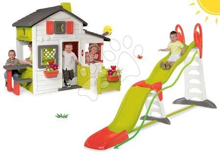 Hišice s toboganom - Komplet hišica Prijateljev Smoby s predhišnim vrtom in tobogan Toboggan Super Megagliss 2v1 dolžina 3,75/1,5 m