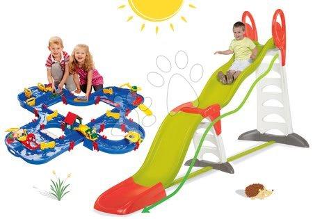 Set skluzavka pro děti Toboggan Super Megagliss 2v1 Smoby a vodní dráha AquaPlay Amphie World s přehradou