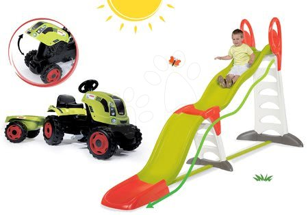 Claas - Set skluzavka Toboggan Super Megagliss 2v1 Smoby a traktor Claas Farmer XL s přívěsem