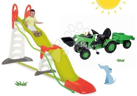 Set skluzavka Toboggan Super Megagliss 2v1 Smoby délka 3,75/1,5 m a šlapací traktor Jim Loader s nakladačem a přívěsem