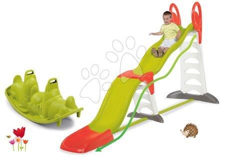 Tobogane pentru copii - Set Tobogan Toboggan Super Megagliss 2 în 1 de la Smoby cu lungimea de 3,75/1,5 m și cu balansoar Câțel de la 24 luni