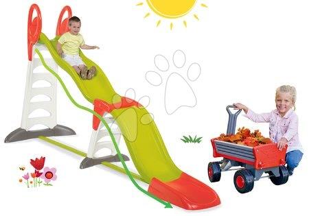 Komplet tobogan Toboggan Super Megagliss 2v1 Smoby in vrtnarski voziček Peppy z vrtljivimi kolesi od 24 mes