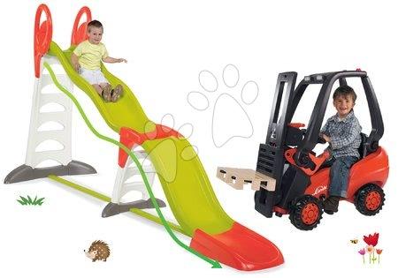 Hračky pre chlapcov - Set šmykľavka Toboggan Super Megagliss 2v1 Smoby a vysokozdvižný vozík Linde s paletou od 24 mes