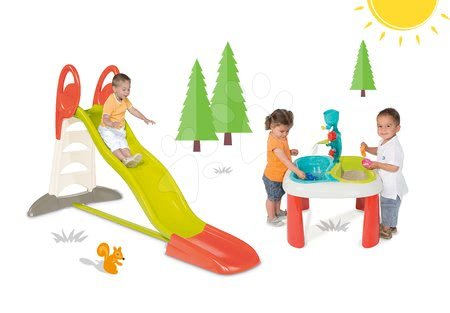 Set detská šmykľavka Toboggan XL Smoby s vodou dĺžka 2,3 m a stôl Voda&Piesok 2v1 s mlynom