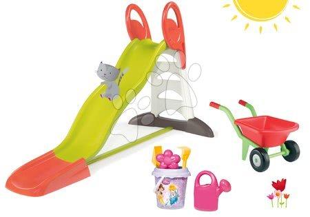 Set skluzavka pro děti Toboggan XL Smoby s vodou délka 2,3 m, kbelík set Princezny a kolečko