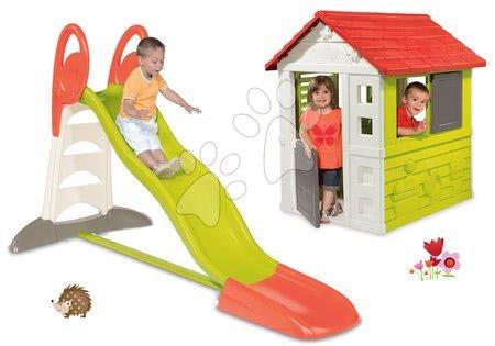 Set detská šmykľavka Toboggan XL Smoby s vodou dĺžka 2,3 m a domček Nature so zasúvacou okenicou