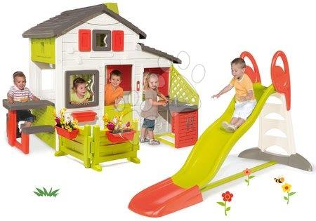 Komplet tobogan Toboggan XL z vodo Smoby in hišica Friends House s kuhinjo in vrtom
