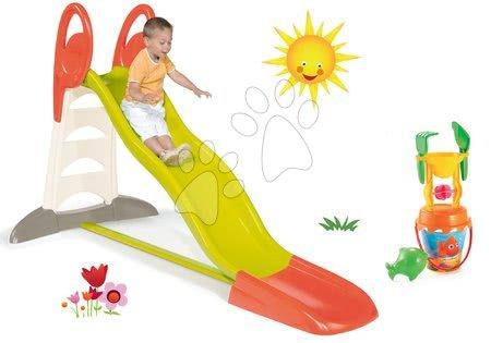 Tobogane pentru copii - Set tobogan Toboggan XL Smoby cu apă și lungime de 230 cm si set de găleată cu forme