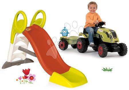 Claas - Set skluzavka Toboggan KS délka 150 cm střední Smoby a traktor na šlapání Claas Farmer XL s přívěsem
