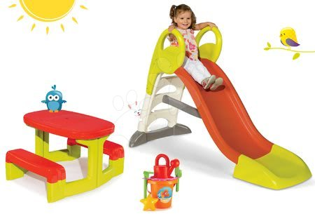 Set šmykľavka Toboggan KS Smoby dĺžka 150 cm  stredná a detský stôl Piknik s úložným priestorom a vedro setom od 24 mesiacov
