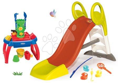 Tobogane pentru copii - Set tobogan Toboggan KS mediu Smoby cu lungime de 150 cm măsuță pentru nisip, apă și undiță pentru copii de la 24 luni