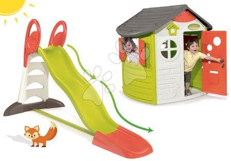 Set domček pre deti Jura Lodge Smoby s dvoma dverami a šmykľavka Toboggan XL s dĺžkou 2,3 m a dvojitou vlnou od 2 rokov