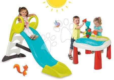 Set detská šmykľavka GM Smoby dĺžka 150 cm+stôl Voda&Piesok 2v1 s mlynom SM310269-12