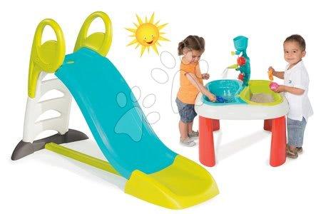Set šmykľavka pre deti Toboggan KS Smoby dĺžka 1,5 m a stôl na hranie Voda&Piesok od 24 mesiacov