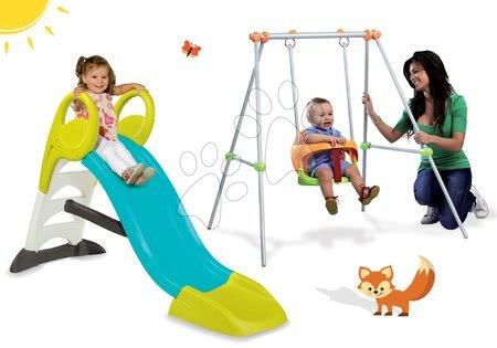 Set detská šmykľavka KS Smoby dĺžka 150 cm a hojdačka Portique od 24 mesiacov