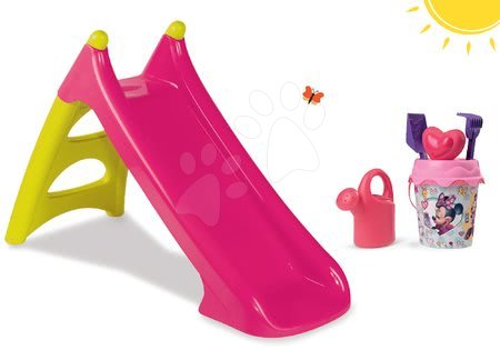 Minnie Mouse - Set skluzavka XS Smoby délka 90 cm a kbelík set Minnie od 24 měsíců