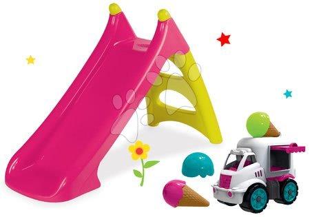 Set skluzavka Toboggan XS růžová Smoby a zmrzlinářské auto Big Power Worker se zmrzlinou